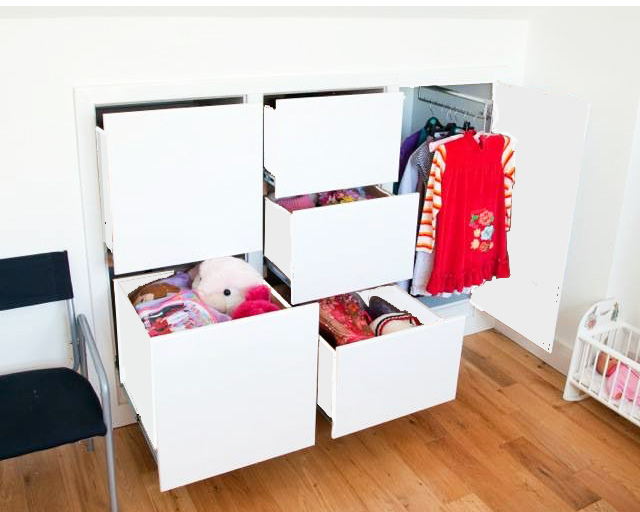 Attic Storage Solution - White Drawers & Doors folding Seamlessly into the Sloped Ceiling of the Loft